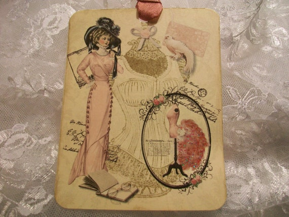 XL French Collage Tags  TG  085   ( Set of 6 )
