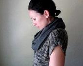 Grey Gauze Infinity Scarf - Charcoal Loop Scarf - Cotton Gauze Circle Scarf - Infinity Cowl - Winter Scarf