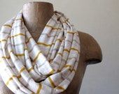 Striped Infinity Scarf - Mustard Yellow, Taupe, Ivory Stripes - Autumn Loop Scarf - Circle Scarf