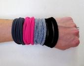 Fabric Bracelets - Eco Friendly Jersey Cotton Fabric Cuff Skinny Bracelets - Hot Pink, Gray, Black