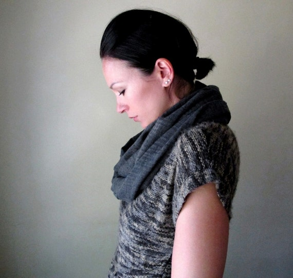 Grey Gauze Infinity Scarf - Charcoal Loop Scarf - Cotton Gauze Circle Scarf - Infinity Cowl - Winter Scarf