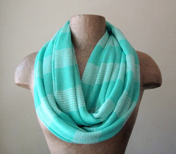 Aqua Blue Sweater Scarf - Lightweight Knit Circle Scarf - Mint Blue Infinity Scarf, Loop Scarf, Eternity Scarf