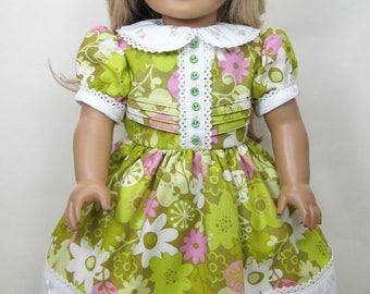 Vintage style floral dress that fit 18 inch doll like American girl doll (1910 to 1970)