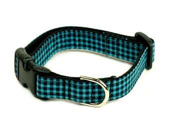 "Ready To Ship - 1"" Dog Collar - 2 sizes available - Checkered Teal"