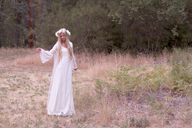 Bohemian Wedding Dresses Ivory Gown Crochet Satin Hippie Bride ...