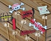 4 Pirate Themed Centerpiece Picks/ Cake Picks