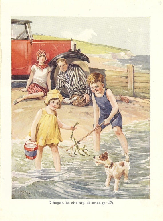 Items Similar To Vintage 1930s Childrens Print Paddling At
