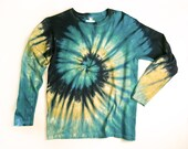 Ladies Long Sleeve Tie Dye Shirt, Womens T Shirt, Earthy Spiral, Eco-friendly Dyeing