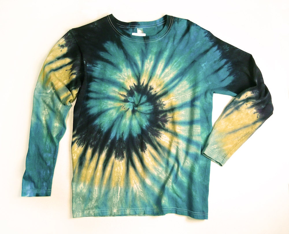 Ladies Long Sleeve Tie Dye Shirt Womens T Shirt Earthy