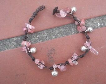 Pink Tourmaline nugget bracelet/jingle bells Thai handmade gift on summer collection/Tourmaline bracelet/pink/Thailand fair trade jewelry