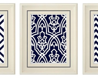 Set of Three Modern Navy Blue Art Print (Unframed)