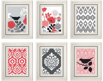 Set of Six Modern/Vintage Coral/Gray Wall Art - 8x11 Print Set - Home Decor - For Home (Unframed)