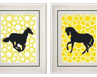 Set of Two Modern Yellow Horse Wall Art - 8x11 Print Set - Home Decor (Unframed)
