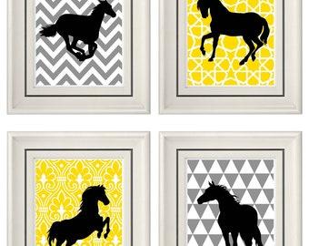 Set of Four Modern Vintage Yellow/Gray Horse Wall Art - Print Set - Home Decor - 8x11 Prints (Unframed)