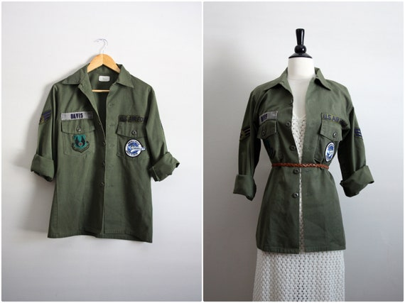 Vintage Patched Army Shirt. Military Jacket. Unisex.