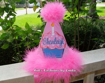 Personalized Pink/Hot Pink Boa Cupcake Birthday Hat