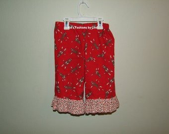 Ruffle Pants with Sock Monkey Fabric