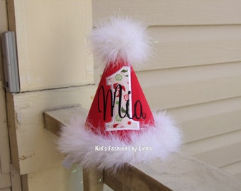 Personalized Red Corduroy /Peppermint Number Birthday Hat