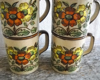 Midcentury Orange Daisy Ceramic Mugs Set 4