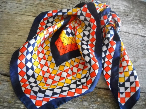 Midcentury Scarf Geometric Design Orange Navy and Yellow