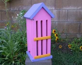 BUTTERFLY HOUSE, Pink and Purple, Insect Hotel. Hand Made, Hand Painted Pine.