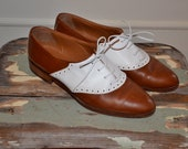 RESERVED  Leather Saddle Shoes Oxfords Brown and White Joan and David
