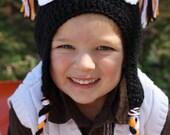 Baby Toddler Boy HALLOWEEN Crochet OWL Earflap Hat Braids Beak Orange Black - Sizes: Newborn to 12yrs -- Photo Prop