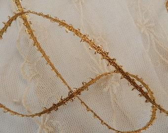 "Petite Metallic Gold Feather Trim, Edging -  Petite 3/16"" Wide - Lamp Shades, Doll Clothes, Victorian Trim"