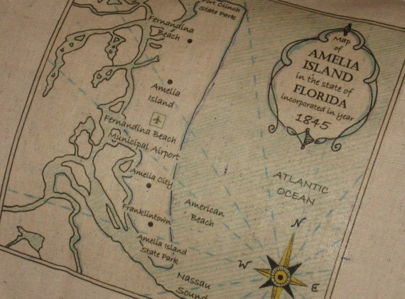 Amelia Island Vintage Map Pillow Nautical Shabby Chic