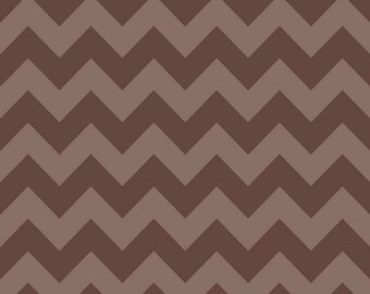20 X 40 LAMINATED cotton fabric (similar to oilcloth) FLAWED remnant - Brown Tonal Chevron - Approved for children's products