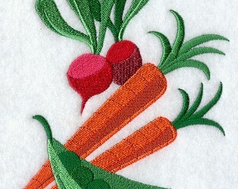 Veggies and Greens Embroidered Flour Sack Hand Towel