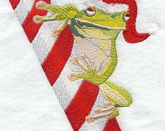 Frog with Candy Cane Embroidered Flour Sack Hand Towel