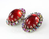 Vintage Red Glass earrings clip AB rhinestone Schreiner period
