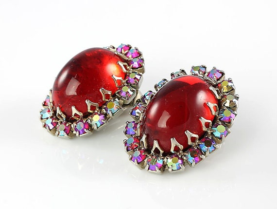 Vintage Red Glass earrings clip AB rhinestone Schreiner period
