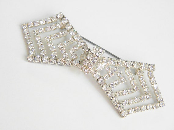 Large Vintage Brooch Clear Rhinestone Bow  40s