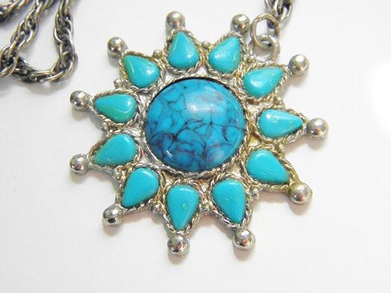 Vintage Glass Turquoise Sun Pendant Necklace 70s