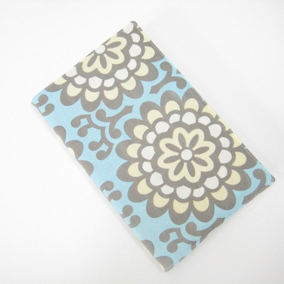 RESERVED Fabric cover fits LARGE Moleskine notebook journal or planner, blue grey cream, gifts for women, handmade greengrass2