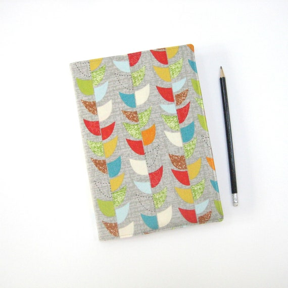 Large 2013 day planner, colorful grey mid century modern retro fabric covered A5 diary or notebook