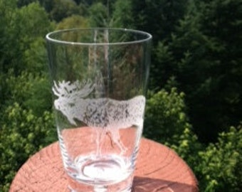 Moose Etched Glassware