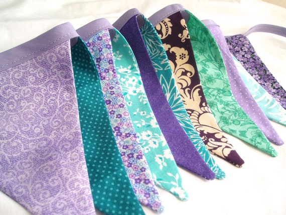 Fabric Bunting Banner-Flag Banner-Girl's Bunting-Purple, Teal, Lavender, Aqua Blue