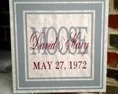 Family Name - Wedding Date - Anniversary Tile - Vinyl on Tile