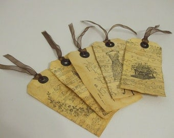 Set of 5 Gift Tags/Bookmarks-Shabby Distressed French Style