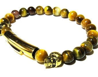 Lion Eyes. Mens 7mm Tigers Eye and gold skull beaded bracelet