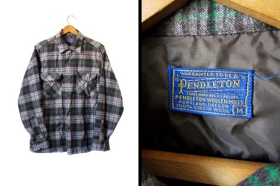 Vintage Pendleton Wool Shirt Green Gray Plaid Flap Pockets - Men's Medium
