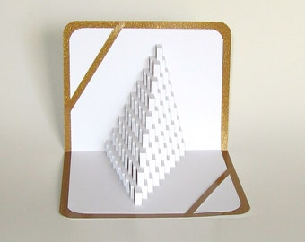 3D Pop Up STAIRS 2 LOVE Home Decor Origamic Architecture of Asymmetric Geometric Pyramid with Intricate Cuts in White and Shimmery Gold OoAK
