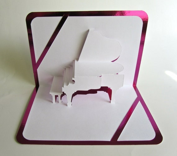 GRAND PIANO 3D Pop Up Card Origamic Architecture Home Decoration  Handmade Handcut in White and Bright Shimmery Metallic Purple OoAK.