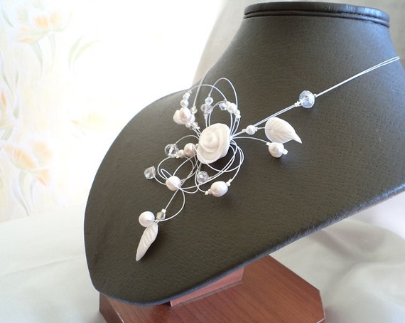 White Rose Bridal Illusion Necklace, Delicate necklace