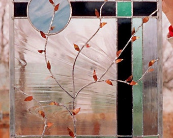 Stained Glass Window  Copper Leaves Panel