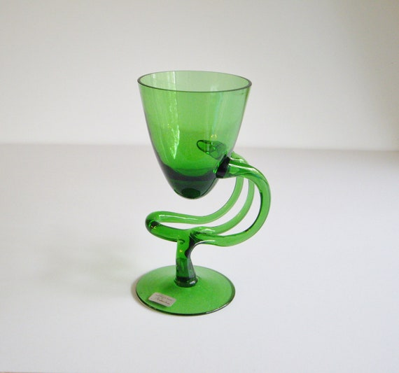 Vintage Jozefina Polish Art Glass Vase Krosno Green Glass