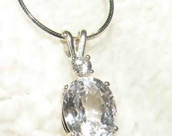 4.25ct White Sapphire with White Sapphire Accent Pendant